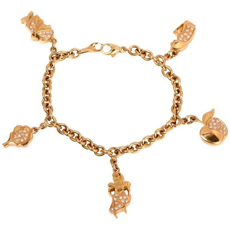 Italian Charm Bracelet Brands: Italian Pave Diamond Gold Charm Bracelet For Sale At 1stdibs
