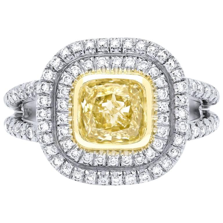 1.03 Carat GIA Cert Fancy Yellow Cushion Cut Diamond and Pave Diamond Gold Ring