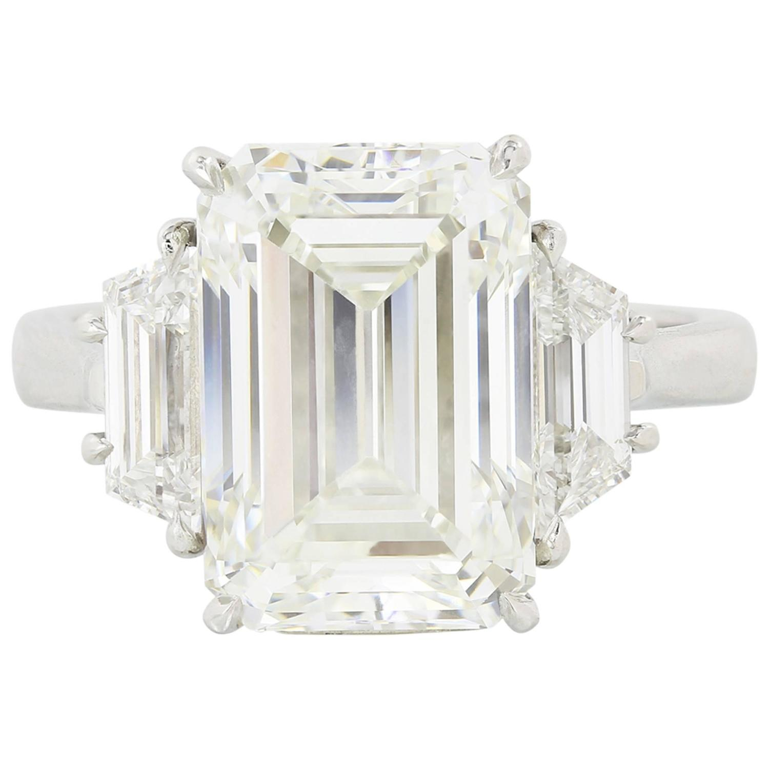 6 01 Carat GIA Cert Emerald Cut Diamond Platinum Three Stone Engagement Ring