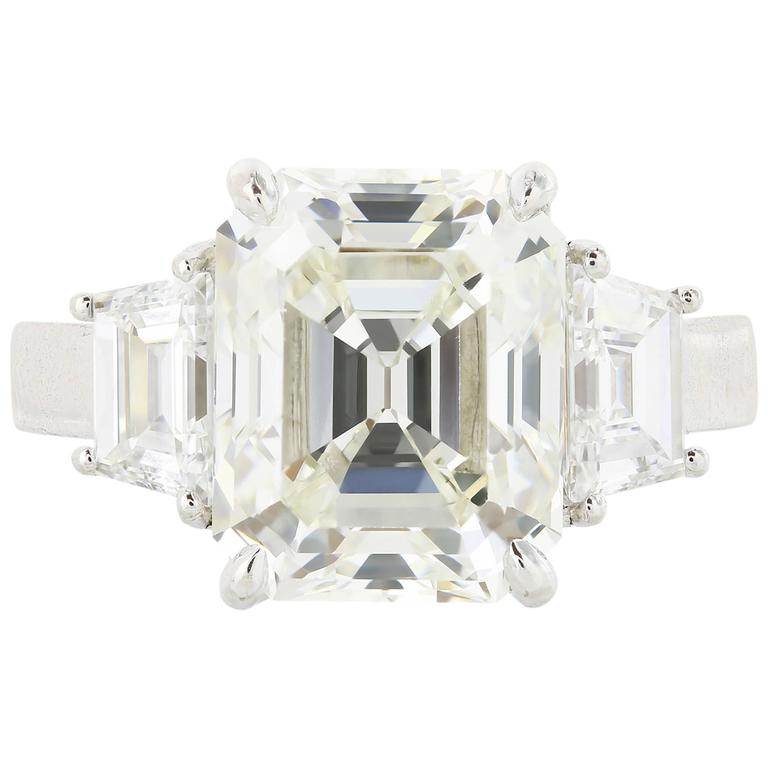 5.13 Carat Emerald Cut Diamond Three-Stone Platinum Engagement Ring