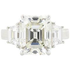 5.13 Carat Emerald Cut Diamond Three-Stone Platinum Engagement Ring