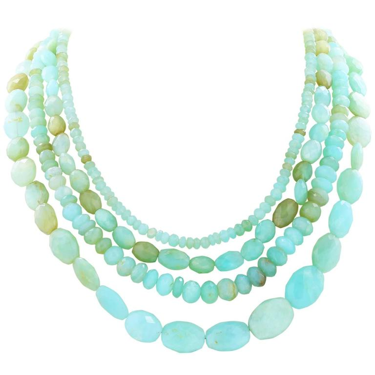 Multiple Tones Green Chalcedony Triple Strand Necklace