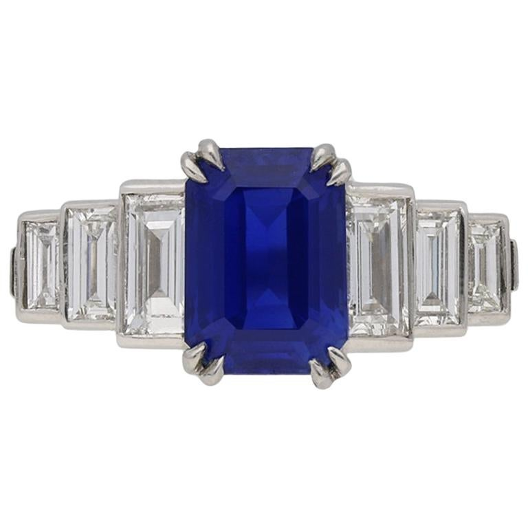 Natural Unenhanced Kashmir Sapphire Diamond Ring, circa 1935
