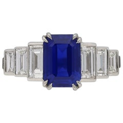Natural Unenhanced Kashmir Sapphire Diamond Ring, circa 1935