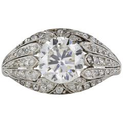 Art Deco 1.60 Carat Old European Cut Diamond Platinum Ring