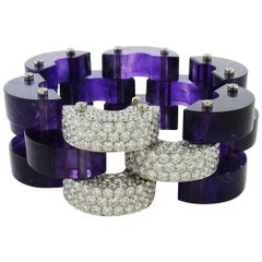 Aletto Brothers Amethyst & Round Diamond 18K White Gold Flexible Link Bracelet