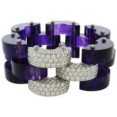 Aletto Brothers Amethyst & Round Diamond 18K White Gold Flexible Link Bracelet
