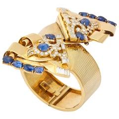 1930s E.M. Gattle & Co. Sapphire Diamond Gold Bracelet and Clips