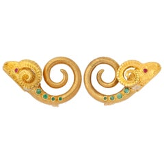 1960s Lalaounis Ruby Emerald Gold Ram Ear Clips