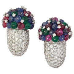 1980s Multi Gem Diamond Platinum Cornucopia Ear Clips