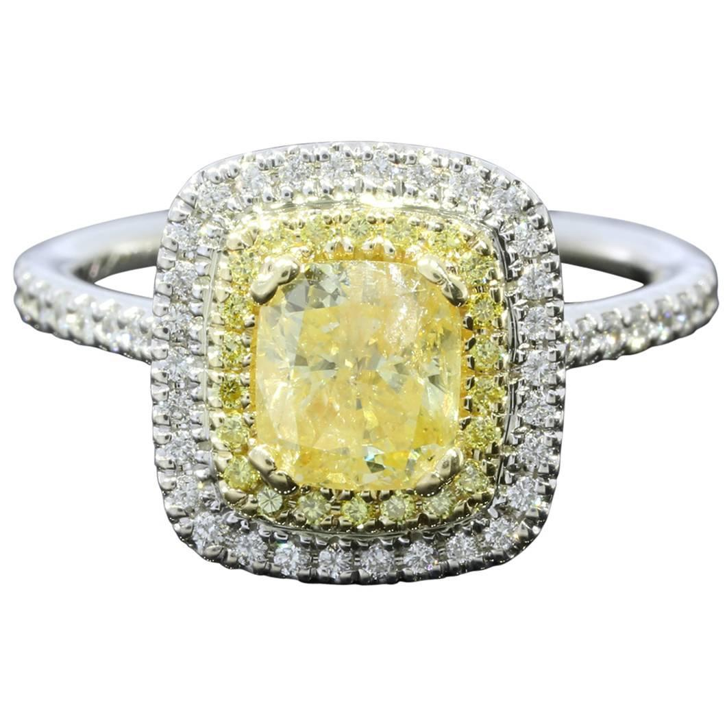 1 12 Carat GIA Cert Canary Yellow Cushion Diamond Double Halo Engagement Ring