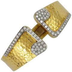 Diamond Hammered Gold Bracelet