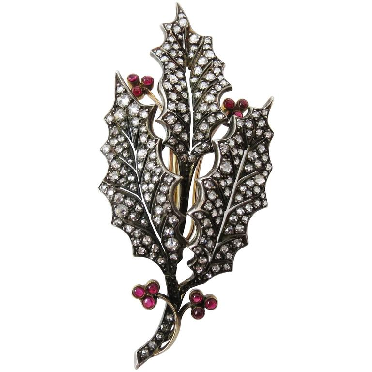 Pink Tourmaline Diamond Silver Gold Leaf Pin