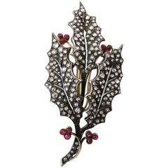 Pink Tourmaline Diamond Silver Gold Leaf Pin