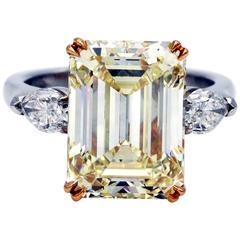 7.66 Carat GIA Certified Fancy Yellow Emerald Cut Diamond Gold Solitaire Ring