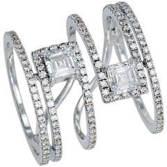 Wide Diamond Gold Geometrical Ring