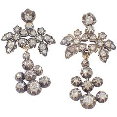 Georgian Diamond Silver over Gold Chandelier Earrings