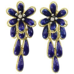 Mid Century Italian Blue Enamel Diamond Gold Drop Flower Earrings