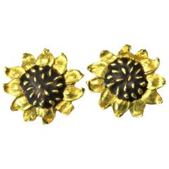 1993 Angela Cummings Awesome Enamel Gold Sunflower Clip Earrings