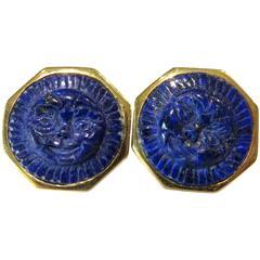 Lapis Lazuli Earrings Hand-Carved Sun Face Gold Octagonal Bezel