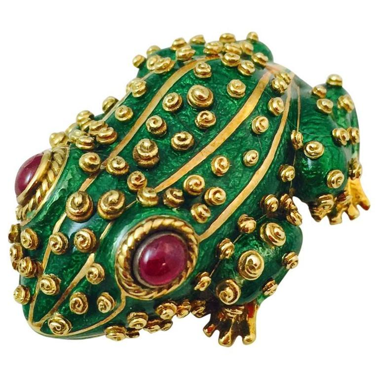 David Webb Enamel Ruby Gold Frog Brooch