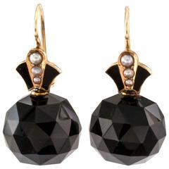 Victorian Onyx Pearl Gold Drop Earrings