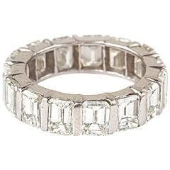 Emerald Cut Diamond 18 Karat White Gold Eternity Band Ring
