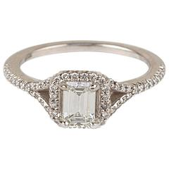 Ritani Modern Emerald Cut Diamond 18 Karat White Gold Engagement Ring