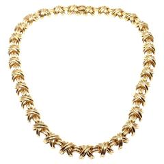 Tiffany & Co. Wide Signature X Gold Necklace