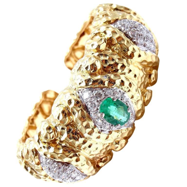 Wander France Emerald Diamond Gold Cuff Bracelet
