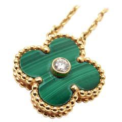 Van Cleef & Arpels Limited Edition Alhambra Malachite Diamond Gold Necklace