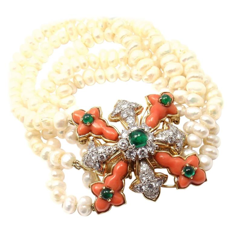 Tiffany & Co. Donald Claflin Pearl Coral Emerald Diamond Gold Bracelet