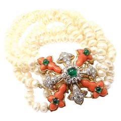 Tiffany & Co. Donald Claflin Pearl Coral Emerald Diamond Gold Bracelet