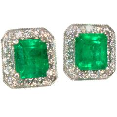 Emerald Diamond Platinum Stud Earrings