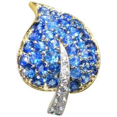 Van Cleef & Arpels Sapphire Diamond Platinum Clip