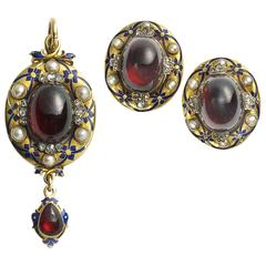 Victorian Enamel Garnet Pearl Diamond Gold Earrings and Pendant Suite