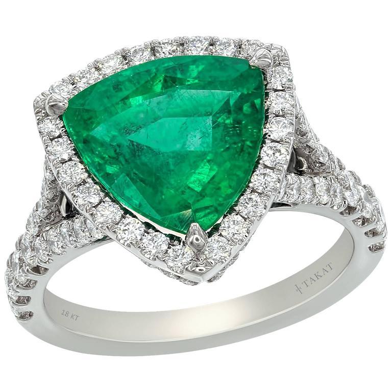 Trillion Cut Emerald Diamond White Gold Cocktail Ring