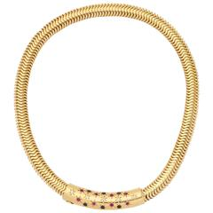 Retro Ruby Sapphire Diamond Gold Snake chain Necklace