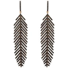 Gold and Black Diamond Feather Earrings