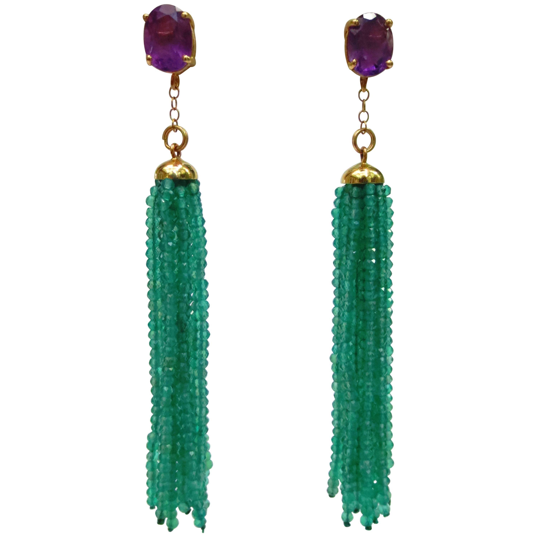Marina J Green Onyx tassel earrings and Amethyst stone stud in 14 k yellow gold
