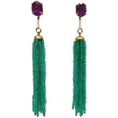 Green Onyx Bead Amethyst Gold Tassel Earrings