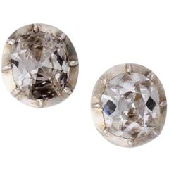 Antique Diamond Silver Gold Stud Earrings