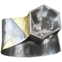 1970s Rainer and Sabine Loewe Modernist Rock Crystal Silver Gold Cuff Bangle