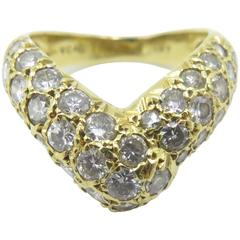 "Van Cleef & Arpels Diamond Gold ""V"" Shaped Ring"