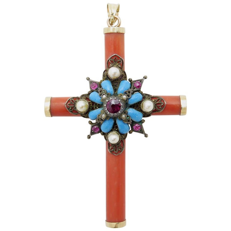Early 19th Century Italian Coral Cross Pendant