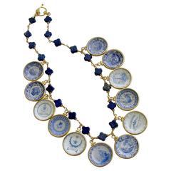 Lapis Quatrefoils Miniature Plates Charm Necklace