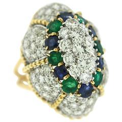 1960s Gem Stone Diamond Gold Ring
