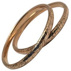 Victorian Engraved Gold Bangle Bracelets