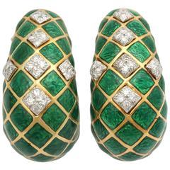 1960s David Webb Green Enamel Diamond Gold Criss-Cross Earclips