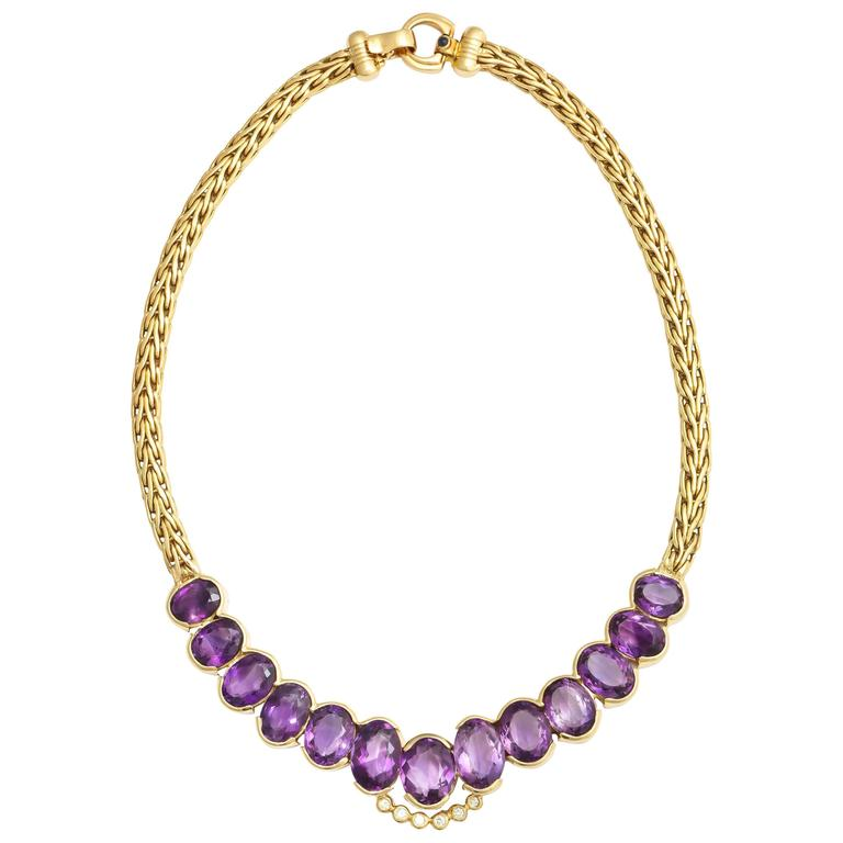 Roberto coin 1980s Amethyst Diamond Gold Collar Necklace With Sapphire Clasp 1